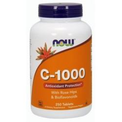 NOW FOODS Witamina C z różą, 1000 mg, 250 tabletek