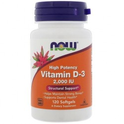 NOW FOODS Witamina D3, 50 mcg, 2000 IU, x120 kaps