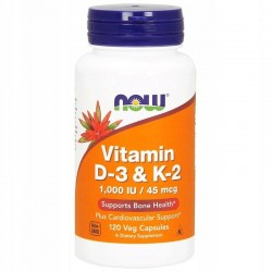 NOW FOODS Witamina D3 + K2, ,1000 IU,45 mcg, 120kap