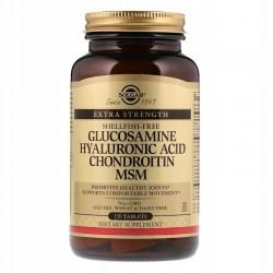 SOLGAR, Glukozamina, kwas hialuronowy MSM, x120