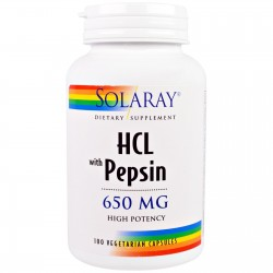 Solaray Betaina HCL z Pepsyną 650 mg 100 kaps.