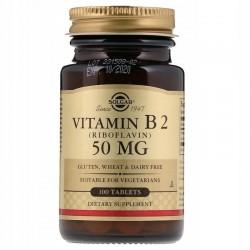 SOLGAR, Witamina B2, 50 mg, 100 tabletek