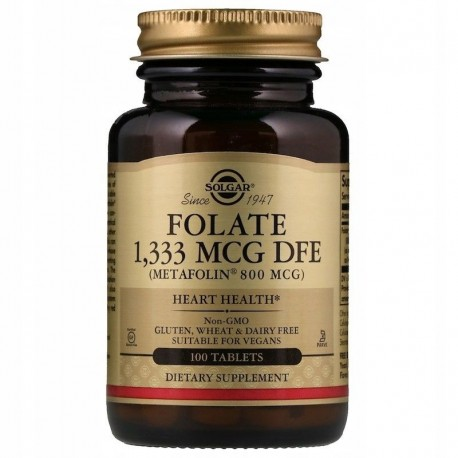 SOLGAR, Folian metafolin, 800 mcg, 100 tabletek