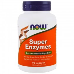 NOW FOODS Super Enzymes Enzymy trawienne, 90 kaps