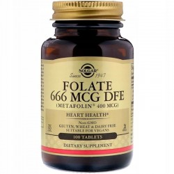 SOLGAR Folian 100 TABLETEK - metafolin 400 UG