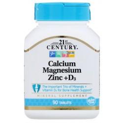 21st Century Cal Mag Zinc + D3, 90 tabletek