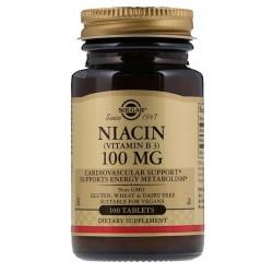 SOLGAR, Niacyna, witamina B3, 100mg, 100 tabletek