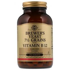 SOLGAR, Drożdże piwne z witaminą B12, 250 tab