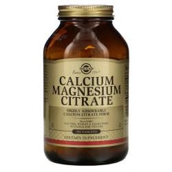 SOLGAR, Cytrynian magnezu, wapń 250 tabletek