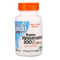 DOCTOR'S BEST Trans-Resveratrol, 100 mg, 60 kaps