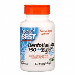 DOCTOR'S BEST Benfotiamina150mg i Kwas alfa liponowy 300mg, 60 kaps