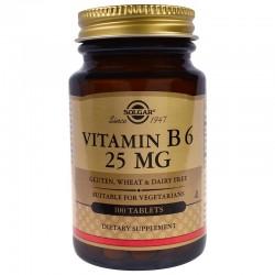 SOLGAR, Witamina B6, 25 mg, 100 tabletek