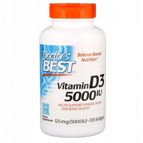 DOCTOR'S BEST Witamina D3, 5000 IU, 720 kapsułek