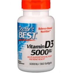 DOCTOR'S BEST Witamina D3, 5000 IU, 360 kapsułek