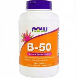 NOW FOODS B-50, B-Complex Kompleks 250 tabletek