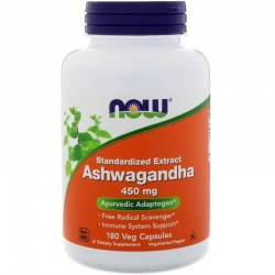 NOW FOODS Ashwagandha, 450 mg, 180 kapsułek