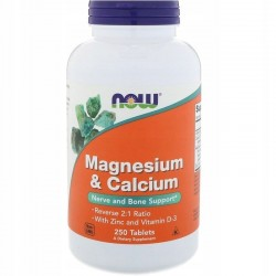 NOW FOODS Magnesium & Calcium Magnez Wapń Cynk D3