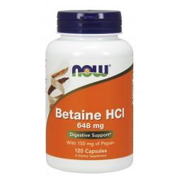 NOW FOODS Betaina HCL 648 mg z Pepsyną, 120 kap