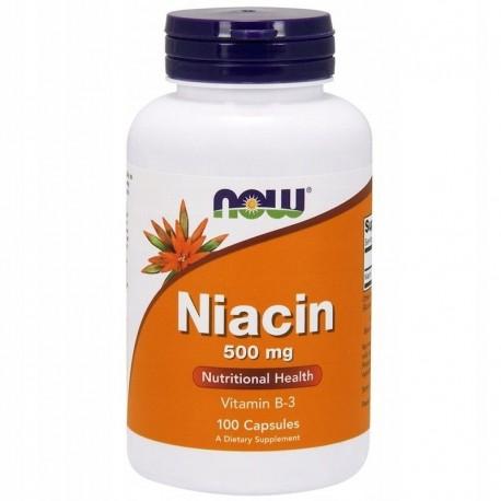 NOW FOODS Niacyna 500 mg, 100 kapsułek NIACIN